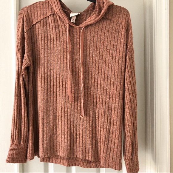 Knox Rose Lightweight Ribbed Hooded Pullover M